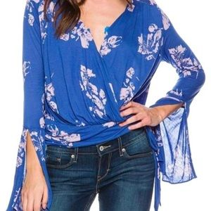 Free People Wrap Fiona Floral Wrap Blouse